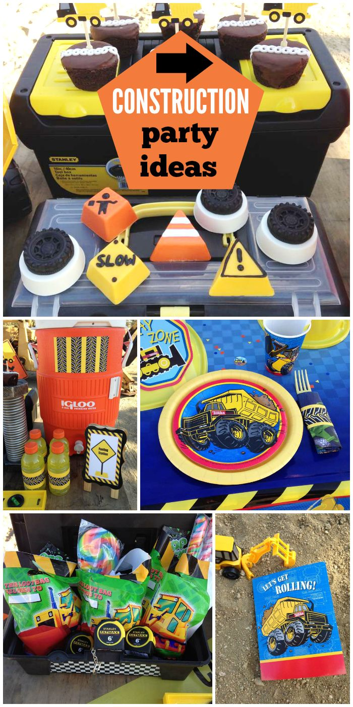 A Tonka boy birthday party with real construction signs, a working digger and a tool box favor display!  See more party planning ideas at CatchMyParty.com!
