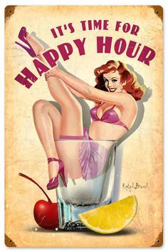 Vintage and Retro Tin Signs - JackandFriends.com - Happy Hour Vintage Metal Sign 12 x 18 Inches, $29.98 (http://www.jackandfriends.com/happy-hour-vintage-metal-sign-12-x-18-inches/)