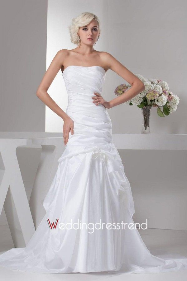 Wholesale Ruched Strapless Chapel Train Trumpet Wedding Dress with Pick-ups - Shop Online for Wedding Dresses at Low Prices