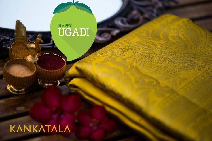 The Telugu New Year begins with UGADI! The raw mangoes, neem and jaggery, which represent the sweet, sour and bitter flavors of life, are used to make chutney on Ugadi. May the flavors of Ugadi fill your life in the coming year! Celebrate Ugadi with this fabulous golden Kanchipuram Saree to make a mark this Ugadi  #ugadi2017 #Ugadi #kanchipuram #saree #telugu