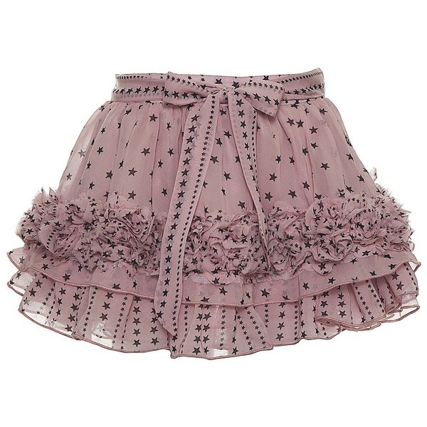 Supertrash Girls 'Samira' Pink Chiffon Star Print Frill Skirt ($83) via Polyvore