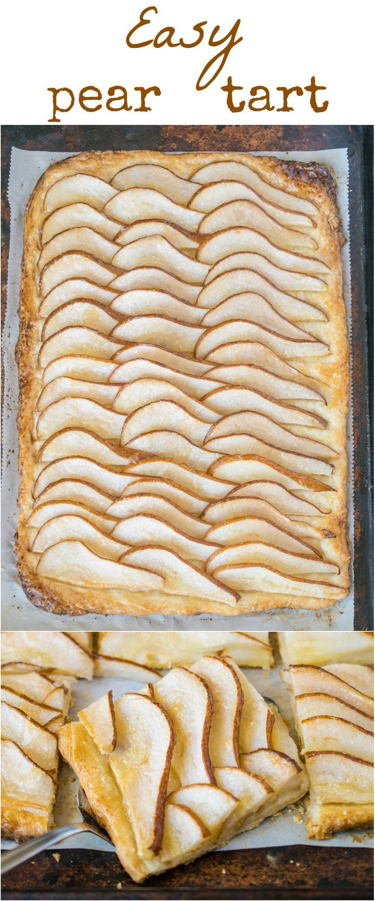 Easy pear tart. Juicy sliced pears are fanned onto flaky pastry, baked until golden brown, then brushed with pear preserves for a delicious glossy sheen.