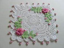 New Hand Crocheted Pink Rose Square Doily with Beads