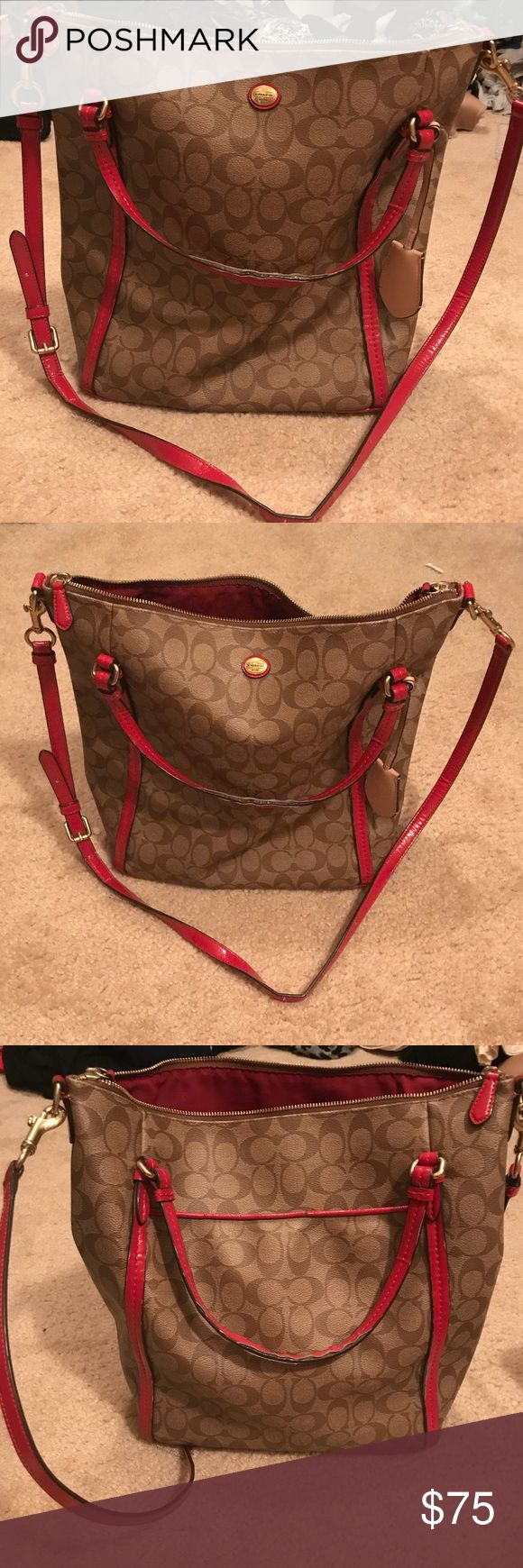 Large coach tote red and tan Beautiful & functional authentic large Coach bag. Great purse for also carrying small laptop, books, or tablets. Good condition, but see pictures that show wear on straps and small scuff on a corner on bottom. Coach Bags Totes