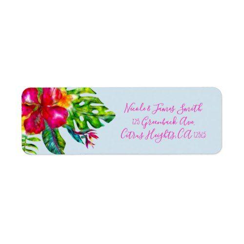Bright Color Tropical Floral Hibiscus Leaves Luau Label