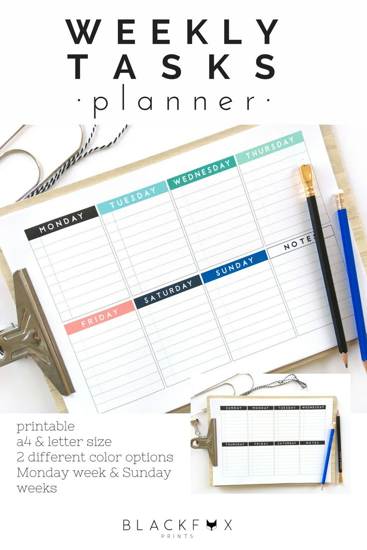 Weekly Tasks Planner. Complete week Printable Planner. Letter and A4 sizes. Black and white and colorful planner pages. Nice and simple weekly tasks planner. It includes, complete week, Saturday and Sunday included; a daily list of tasks that can be checked; notes area; plus it includes two different color options, black and white, and with a colorful option. It also includes two different layouts, Monday weeks and Sunday weeks, and it´s available in a4 size and us letter size.