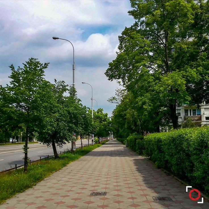 Wracałem sobie kiedyś z zakupów spacerkiem i postanowiłem odstawić na moment reklamówki na bok, bo spodobał mi się widok :D  Fotolia / Adobe Stock: 111031834 http://bit.ly/pog-18  #phoneography #fotolia #instant #adobestock #igers #igerswroclaw #igerspoland #wroclaw #wroclove #miastospotkan #longway #street #pavement #clouds #cloudyday #bluesky #trees #green #grass #path #brick #nofilter #photoshop #retouch #18