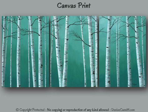 Large wall art, Teal green home decor, Birch tree painting - Huge canvas print set, Oversized, Aspen,Artwork,Landscape,Bedroom,Dining,Office