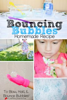 Homemade Bouncing Bubbles Recipe and Video (No glycerin or corn syrup)- Makes bubbles strong enough they can be bounced-Fun activity for kids | A Little Pinch of Perfect