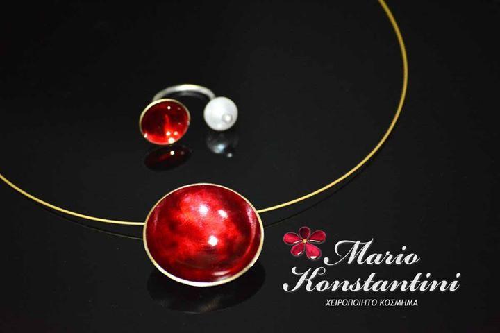 #set #kolie #daxtulidi #necklace #ring #red #kokkino #jewelry