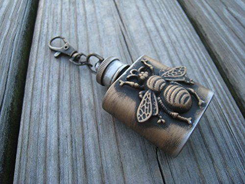 Steampunk Keychain mini flak - Steampunk mini flask Keychain-Groomsmen gift -for him - Compass keychain - Burning man keychain mini flask- Bee Steampunk mini flask-Steampunk flask >>> Check out the image by visiting the link. (Amazon affiliate link)
