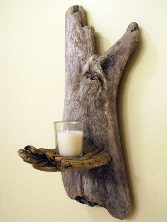 cool candle sconce idea!: Diy Ideas, Decor With Driftwood, Diy Driftwood, Flameless Candles, Crafts Ideas, Sconces Ideas, Driftwood Crafts, Driftwood Candles Holders, Candles Ideas