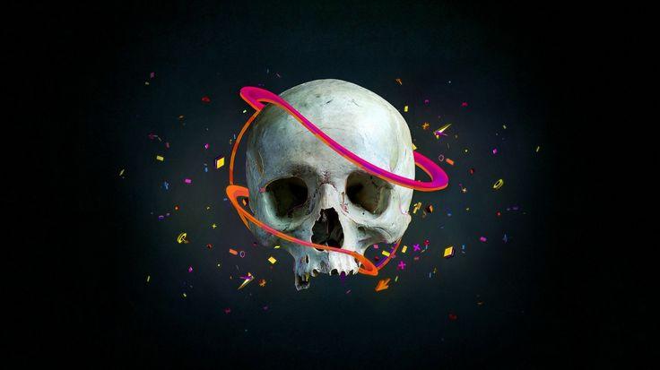 1366x768 Wallpaper skull, lines, vector, confetti, arrows