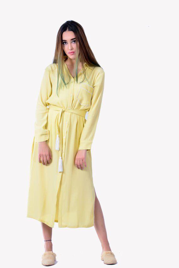 aaef70ad849 Dress Shirt Yellow Summer Midi Dress Oversized Shirt