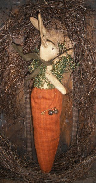 Primitive Easter Bunny Rabbit Carrot Hanger