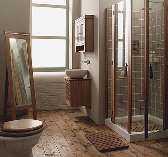 wood floor small bathroom