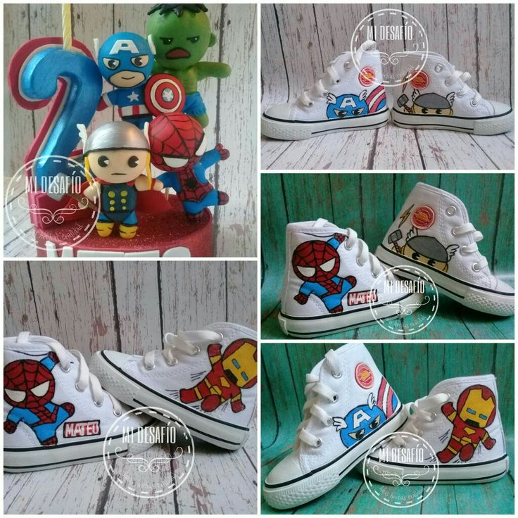 Vale topper avengers y tenis  pintados a mano
