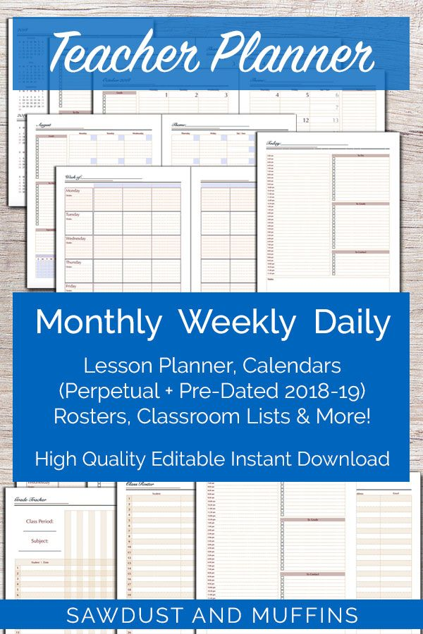 Printable Editable Teacher Planner/ Daily Weekly Monthly Perpetual