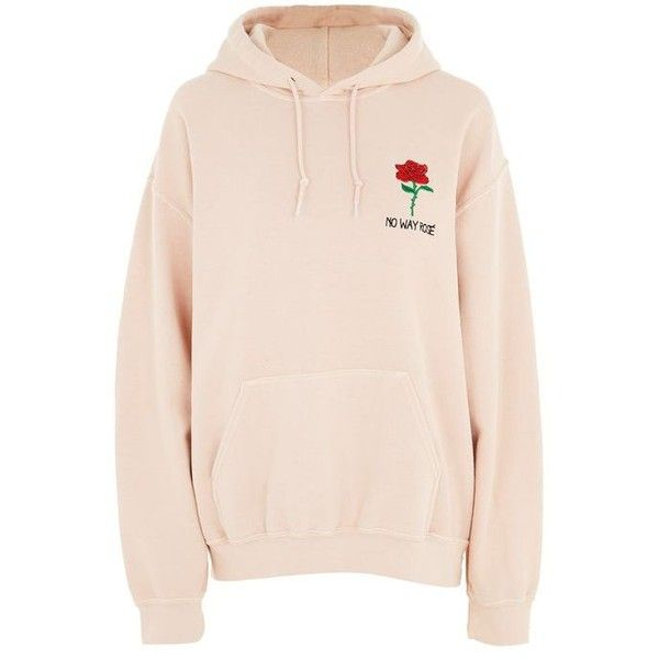 PETITE No Way Rose Motif Hoodie ($57) ❤ liked on Polyvore featuring tops, hoodies, outerwear, pink, pink hoodie, petite hoodie, sweatshirt hoodies, hooded pullover and pink hoodies