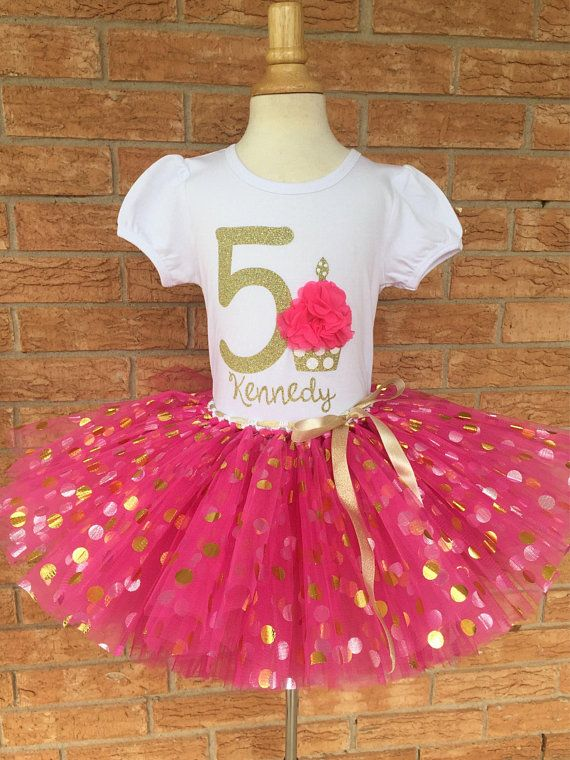 Girls Fifth Birthday 5th Outfit Shirt Party 5 Year Old Pink And Gold