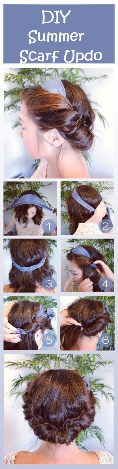 """Feeling and being pretty is girl power!  DIY Summer Scarf Updo.  When you hear us ladies say """"we are not our hair"""", we know we ain't fooling nobody.  Yes we are our hair!  It's our crown and we don't have to win a beauty pageant to wear it!  However we style our hair, we're the queen!!  :)  #humor  #hairstyles"""