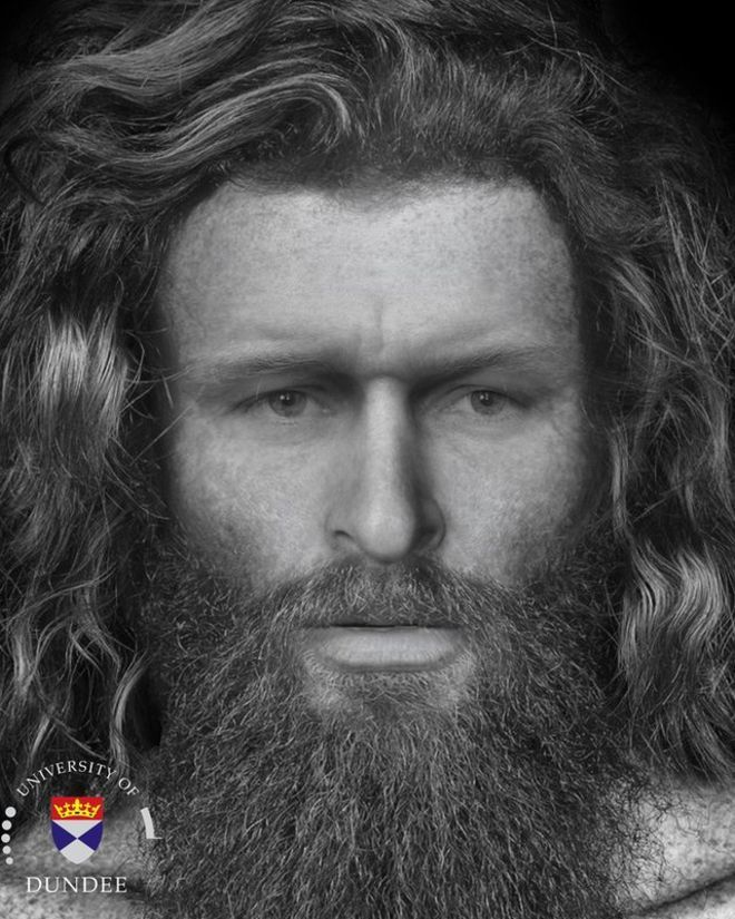 "The face of a Pictish man who was ""brutally killed"" 1,400 years ago has been reconstructed by Dundee University researchers. Archaeologists found the man's skeleton buried in a recess of a cave in the Black Isle, Ross-shire."