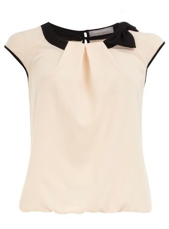 Petite blush contrast bow top...cute work top need to go back to this website asap
