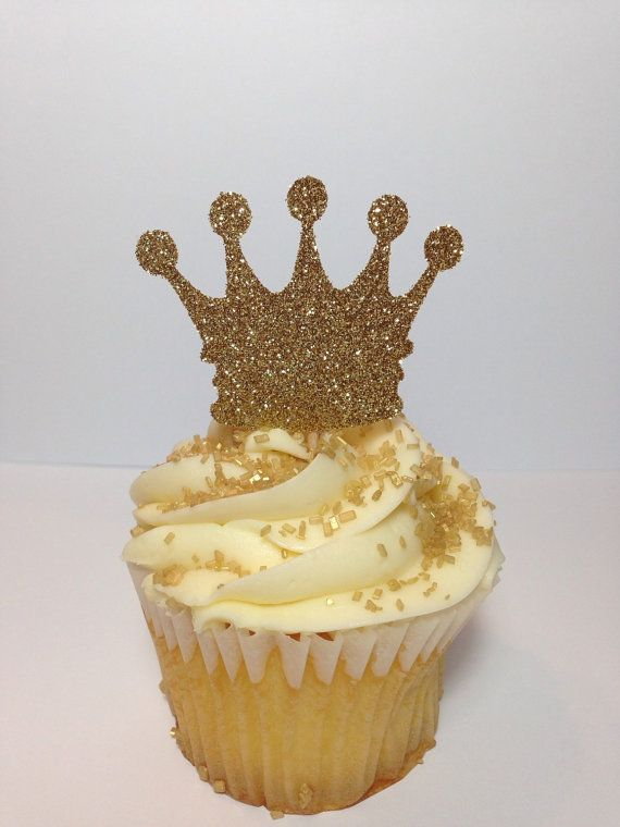 Crown Cupcake Toppers Princess Party by BirdInACageCreations