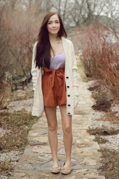 cardigan weather love.: Flightless Birds, Color Combos, Burnt Orange, Brown Shorts, Bustiers, Fashionista Dream, Fall Outfit, Long Cardigans, High Shorts