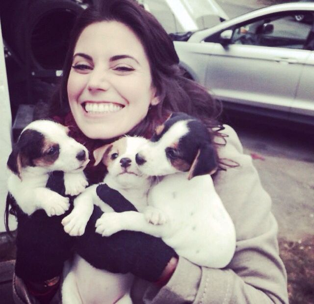 Meghan Ory, Ruby holding puppies my heart might explode at the cuteness of this.  I kinda like to pretend that Dorothy surprised her with these little guys ;)