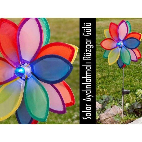 Rüzgar Gülü Solar Bahçe Lambası