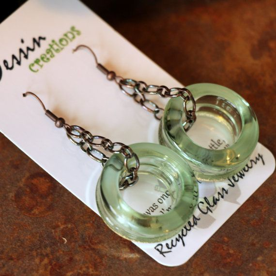 COCA COLA Earrings, COPPER Coke Bottle Jewelry, Recycled Glass Earrings, Upcycled Jewelry, Dessin Creations