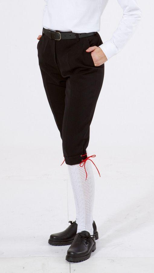 Damen-Kniebundhose schwarz aus  Gewebe / Stoff mit roter Kordel