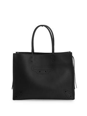 BALENCIAGA Papier Leather Tote. #balenciaga #bags #leather #hand bags #lining #tote #cotton #