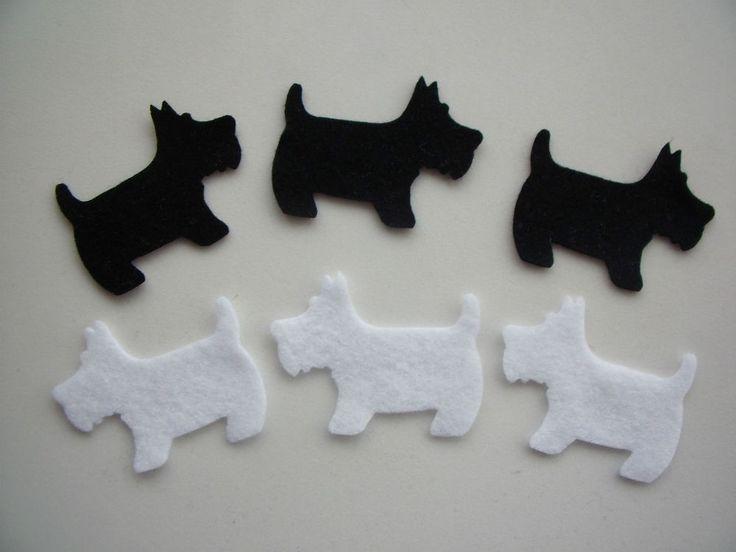Felt Scottie/Westie Dog Die Cut Shapes - x6 card making/craft/ project