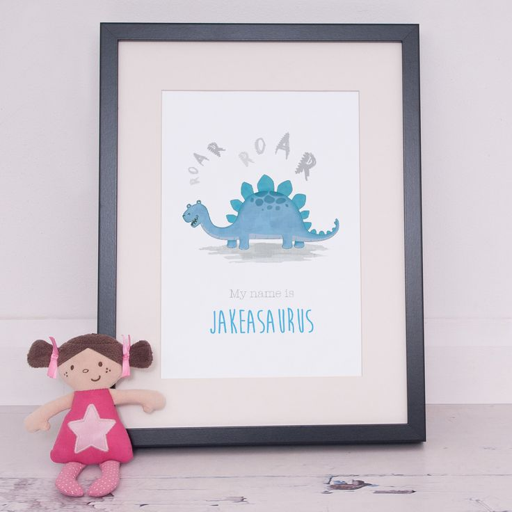 Personalised Stegosaurus Dinosaur Poster This fun personalised Stegosaurus Dinosaur Poster will look great on a childs bedroom, playroom or nursery wall  Dinosaur Nursery Print, Dinosaur Gift