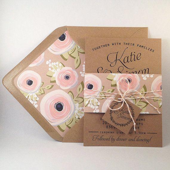 Kraft Wedding Invitation Suite - Set of 25, Kraft lined envelopes, Bakers Twine, Floral Wedding Invitations