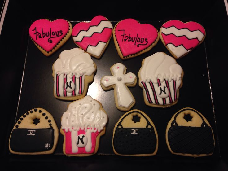 Happy Birthday sugar cookies! Mother in law birthday! Cross/faith, Chanel purse, cupcake, pink and chevron heart sugar cookies!