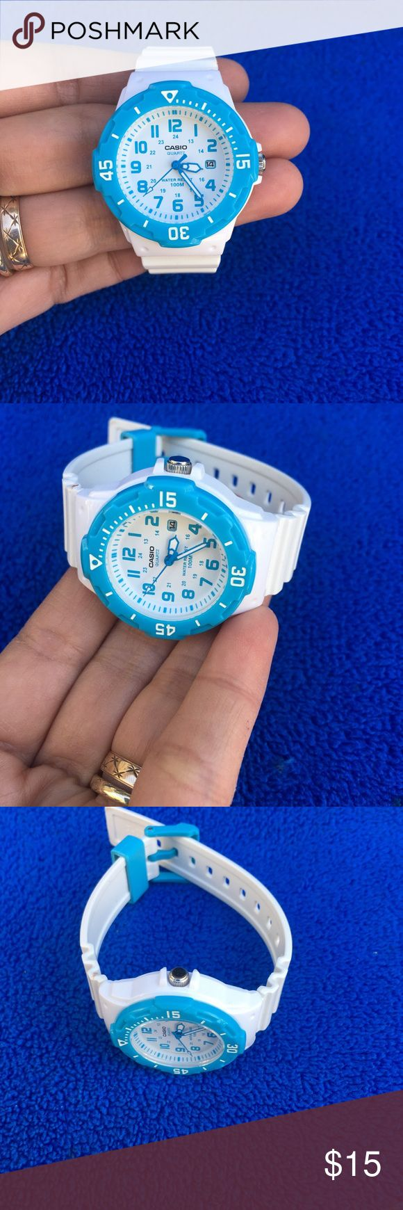 "Casio Ladies  Watch -Working! Cute Casio Womens Watch, working and keep accurate time, color white and blue.  It measure 8"" long, the case measure 1.5"" diameter. This watch is  in very good condition, clean  face.. Casio Accessories Watches"