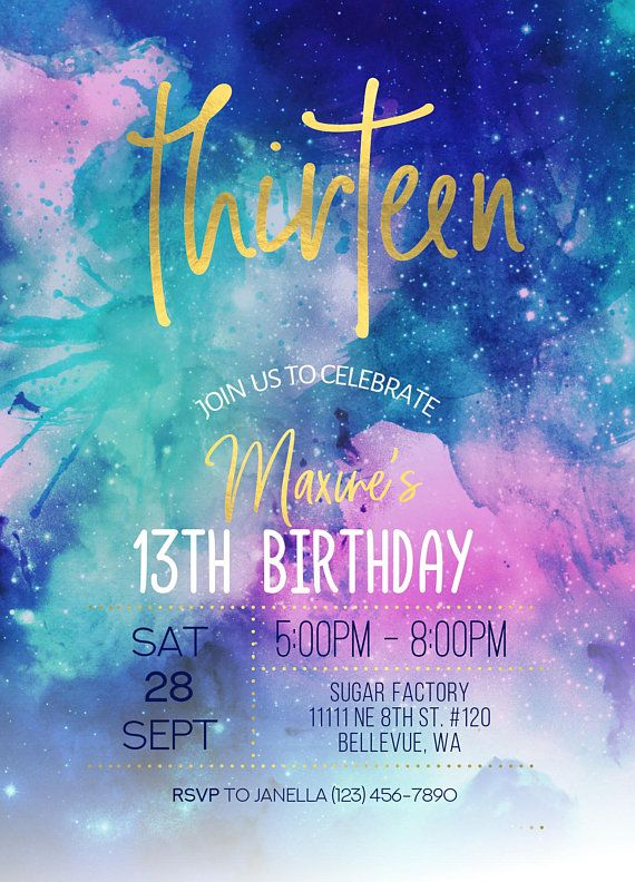 galaxy watercolor gold birthday invitation  13th birthday