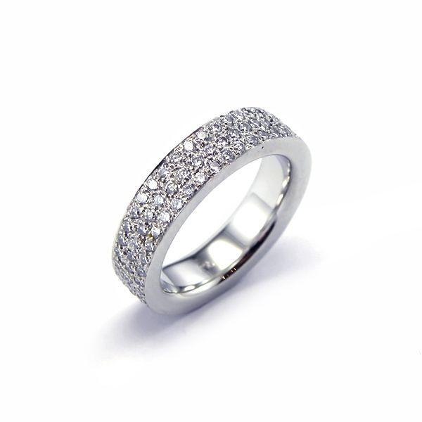 Pave set diamond wedding band in platinum, with square profile band. #Sydney #Wedding #Rings #Diamond #Jewellery #Bridal