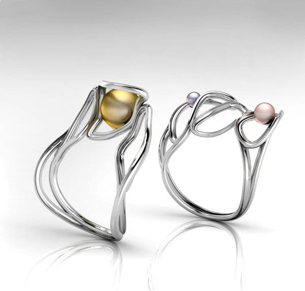 Agnieszka Maksymiuk jewellery Rings Set of two rings, made of silver with pure pearls. Designed in Matrix, can be worn together or separate.