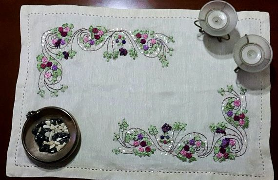 Check out this item in my Etsy shop https://www.etsy.com/listing/253230669/ribbon-embroidery-design-table-runner