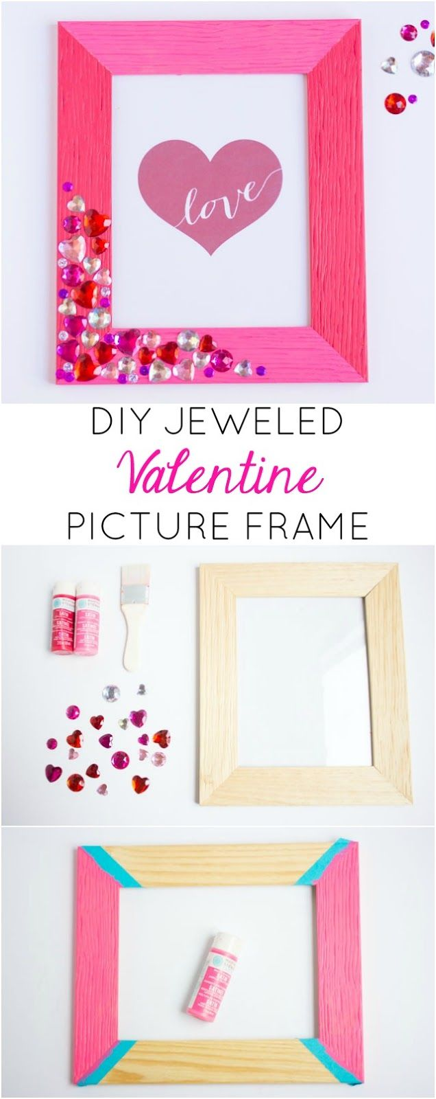 Dress up a plain picture frame for Valentine's Day with heart jewels and pink craft paint!