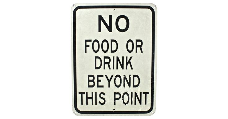 """Vintage black and white sign that reads, """"No Food or Drink Beyond This Point."""""""