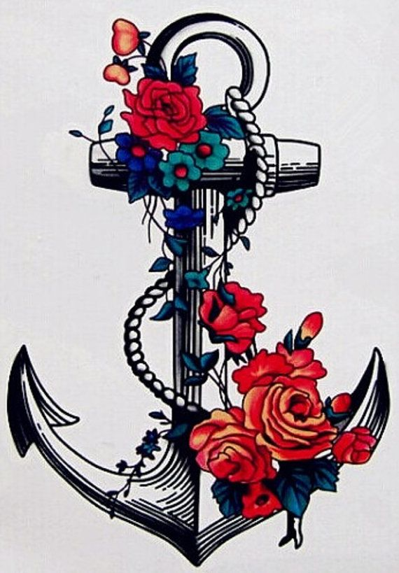 Temporary Tattoo Flower Anchor by TattooNbeyond on Etsy