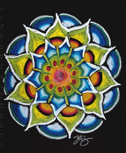 Mandala. Neocolor II crayons by Caran d'Ache on a black sketchbook. Photo by Stephanie Smith, Dec. 2008