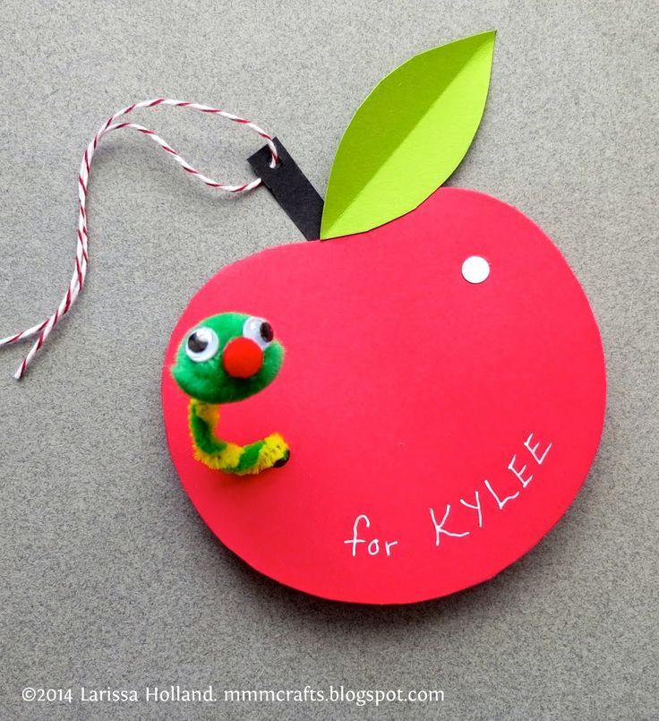 Mr wormy apple gift tag tutorial.   mmm crafts: http://mmmcrafts.blogspot.com.au/2014/04/mr-wormy-apple-gift-tag-tutorial.html
