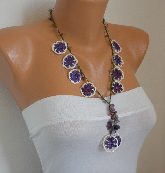 Crocheted Necklace oya flower with semiprecious stones by fatwoman, $24.00