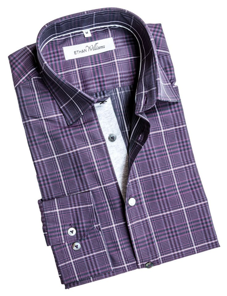 Purple dress shirt with gingham pattern - Florence